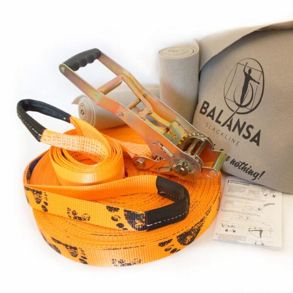 Balansa Slackline - Napredni slackline set, Longline, Next Step 50m dolžina, 3,5cm širok, oranžen, Pro