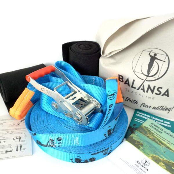 Balansa Slackline - Advanced slackline kit 33m long and 3,5cm wide, blue