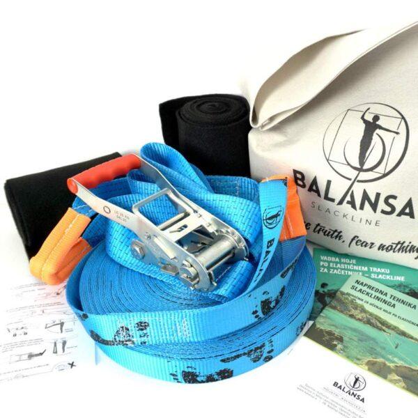 Balansa Slackline - Napredni slackline set 33m dolg in 3,5cm širok, moder