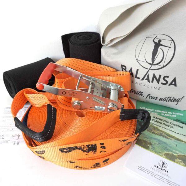 Balansa Slackline - Napredni slackline set 33m dug i 3,5cm širok, naranča