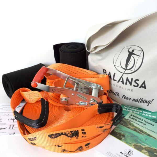 Balansa Slackline - Napredni slackline set 33m dolg in 3,5cm širok, oranžen