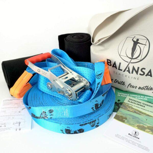 Balansa Slackline - Napredni slackline set 33m dug i 3,5cm širok, plava