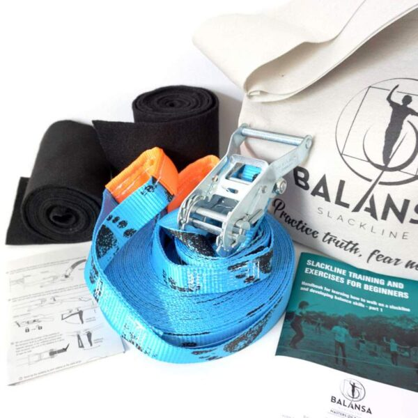 Balansa Slackline - Beginner slackline kit, universal Easy Rider 17m long, 3,5cm wide, blue