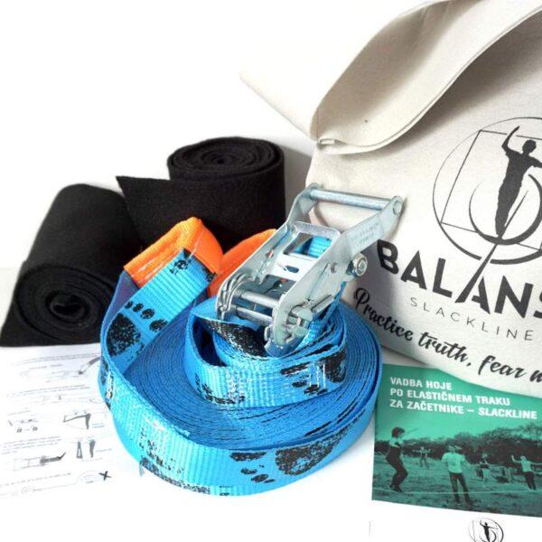 Balansa Slackline - Začetniški slackline set, osnovni, univerzalni Easy Rider 17m dolg in 3,5cm širok, modra