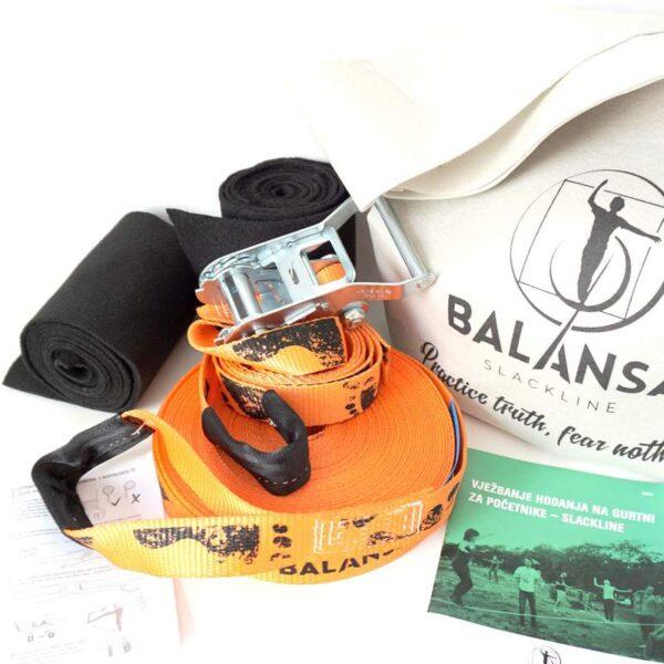 Balansa Slackline - Početnički slackline set, osnovni, univerzalni Easy Rider 17m dug i 3,5cm širok, naranča