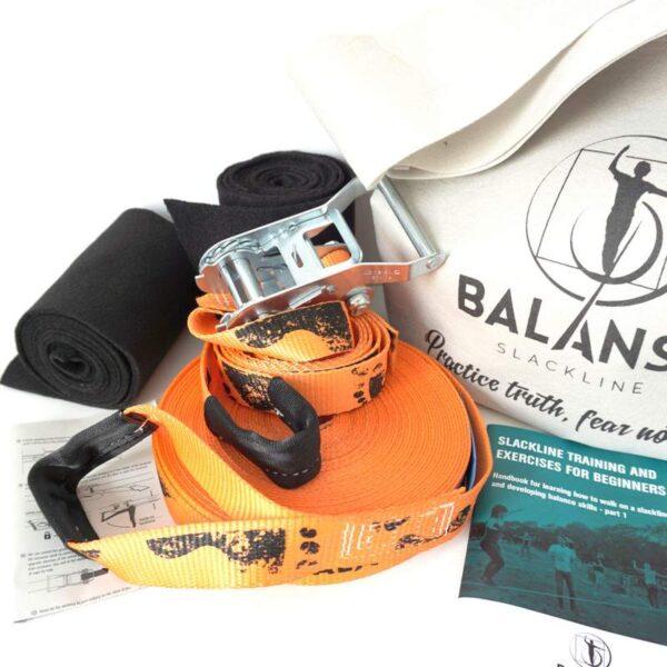 Balansa Slackline - Beginner slackline kit, universal Easy Rider 17m long, 3,5cm wide, orange