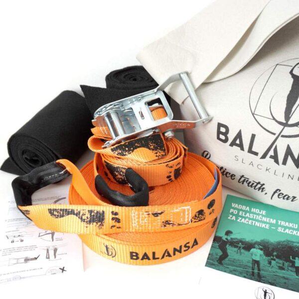 Balansa Slackline - Začetniški slackline set, osnovni, univerzalni Easy Rider 17m dolg in 3,5cm širok, oranžen