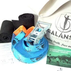Balansa Slackline - Početnički slackline set, osnovni, univerzalni Easy Rider 17m dug i 3,5cm širok, plava