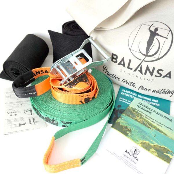Balansa Slackline - advanced slackline kit Ultra Light 23m long and 2,5cm wide, green