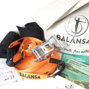 Balansa Slackline - napredni slackline set Ultra Light 23m dolg in 2,5cm širok, naranča