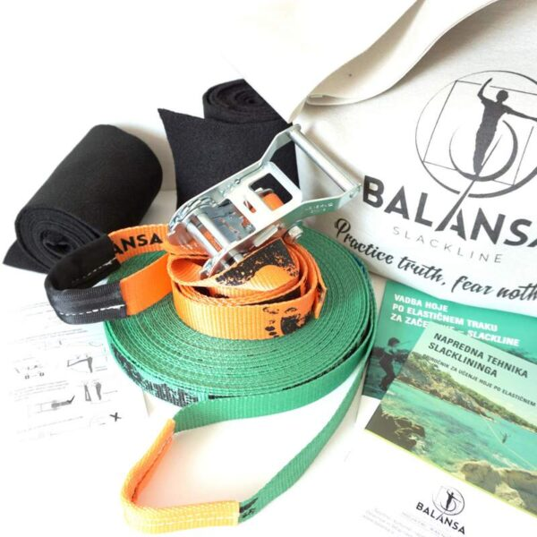 Balansa Slackline - napredni slackline set Ultra Light 23m dolg in 2,5cm širok, zelen